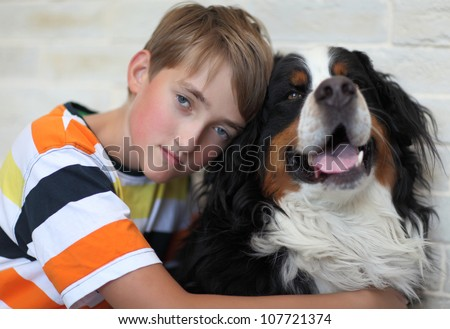 Sad child with the dog