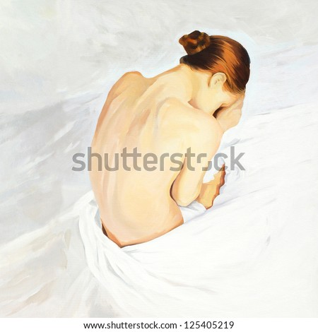 sad crying girl sitting in beds, painting by oil on canvas,  illustration
