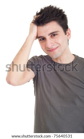 sad depressed young man crying, conceptual picture regarding emotional, financial or violence problems (isolated on white)