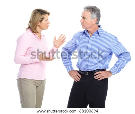 Sad elderly couple. Divorce. Isolated over white background