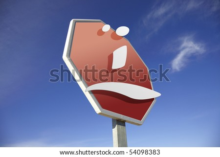 Sad face road sign