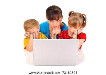 Sad family with computer