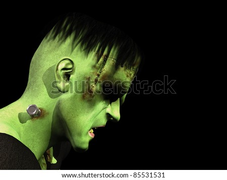 Sad Frankenstein's Monster head down and eyes closed. Isolated on black background.