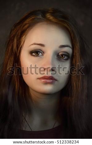 sad girl tears on eyes ez canvas