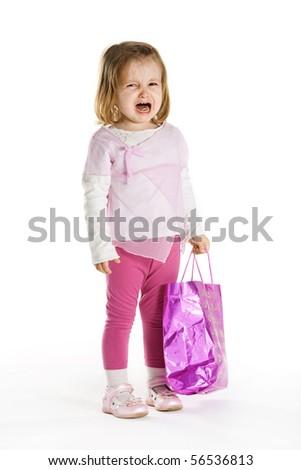 sad girl with shopping bag