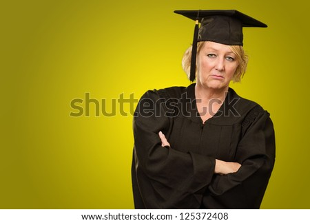 Sad Graduate Woman On Coloured Background