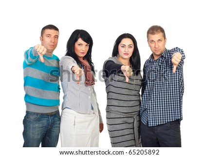 Sad group of people in a row giving thumbs down isolated on white background