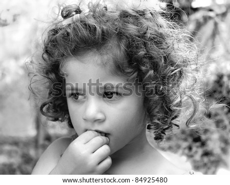Little Sad Girl Curly Blond Hair Stock Photo 109425209