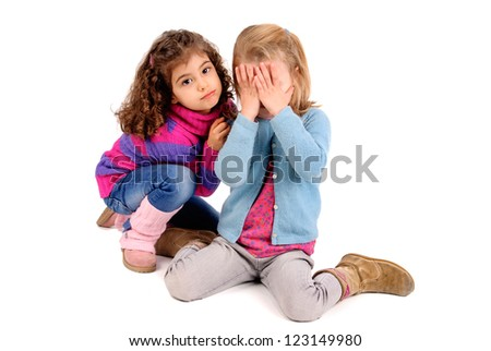 sad little girls isolated in white