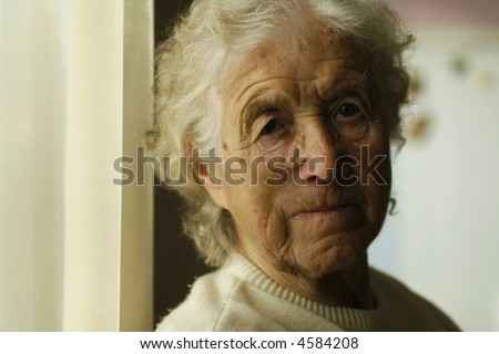sad looking old lady