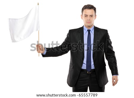 Sad man holding a white flag, gesturing defeat, isolated on white background
