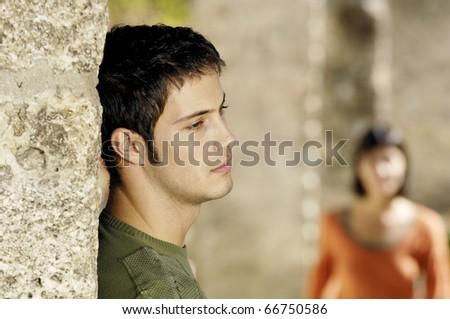 sad man waiting for his girlfriend