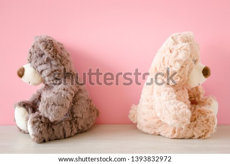 Sad, offended, brown bears. Concept - people, friends, children, lovers, family conflict. Front view. Stock photo ©