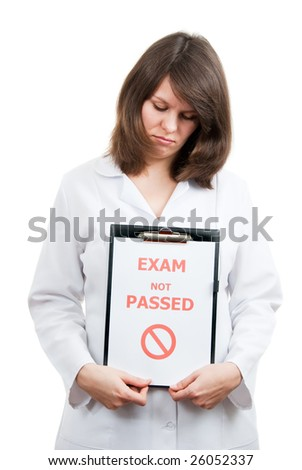 Sad physician student passed not difficult examination