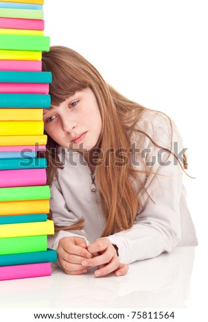 sad schoolgirl with learning difficulties, isolated on  background