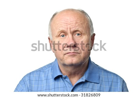 sad senior man - stock photo
