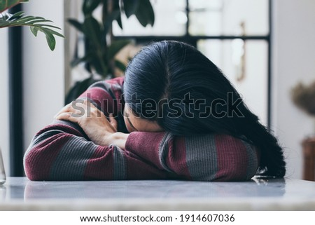 sad serious illness woman.depressed emotion panic attacks alone sick people fear stressful crying.stop abusing domestic violence,help person with health anxiety,thinking bad frustrated exhausted Stockfoto ©