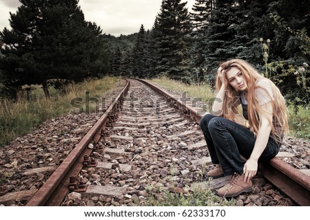 Sad Suicidal Lonely Young Woman On Stock Photo 62333170