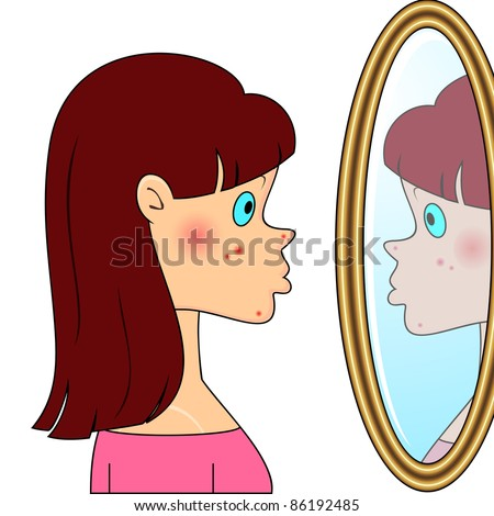Sad teenager girl looking at mirror and seeing acne