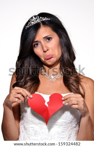 Sad woman broken heart sad bride portrait.Breaking heart