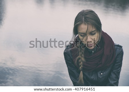 Sad woman concept