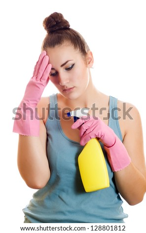 Sad woman in rubber gloves, tired of cleaning isolated on white background