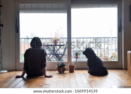 sad woman sitting and looking out the window with her dog #1069914539