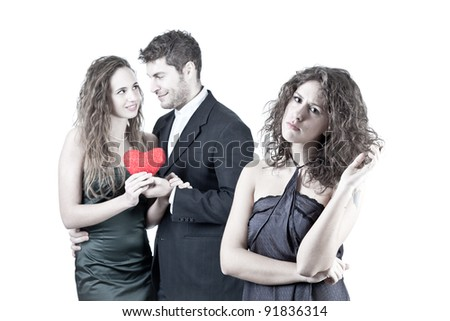 Sad Woman with Happy Couple on Background