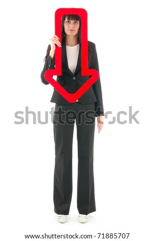 Sad woman with red arrow downwards, on white background.