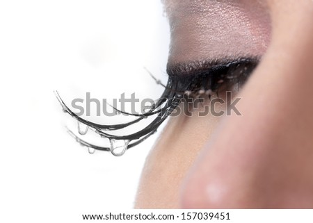 Sad Woman With Tears Dripping from Her Eyelashes