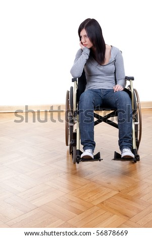 sad young invalid woman on the wheelchair