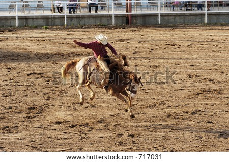 Saddle bronc riding rodeo competition.