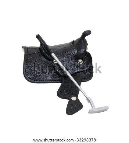 Saddle made of heavy black leather for riding domestic horses for leisure activities like polo - path included