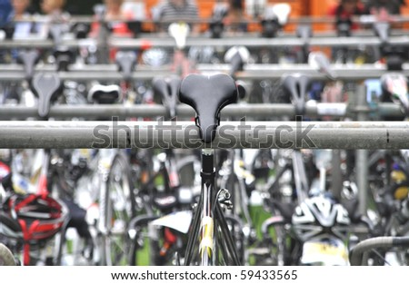 Saddle of a bicycle during a triathlon
