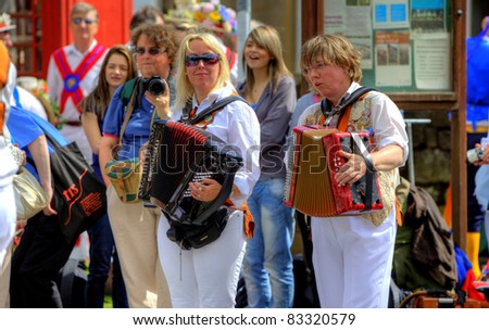 SADDLEWORTH, UK - AUG 20: Accordeon players at the Rushcart Ceremony on the 20th of August, 2011 in Saddleworth, UK