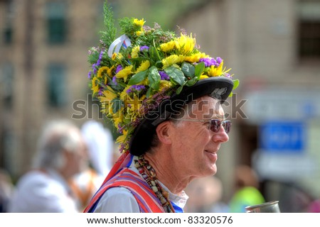 SADDLEWORTH, UK - AUG 20: Decorated hat of a Morris Dancer at the Rushcart Ceremony on the 20th of August, 2011 in Saddleworth, UK