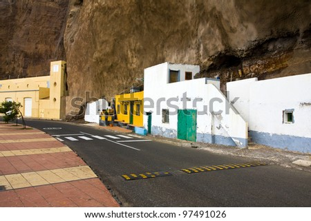 Saedina, - village with houses inside the rock, Gran Canaria, Spain - stock photo