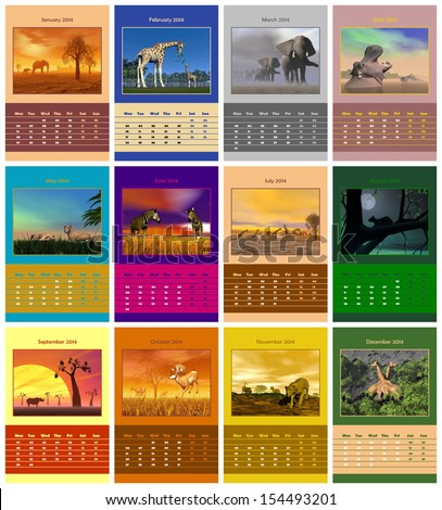 Safari animals english calendar for 2014 in colorful background