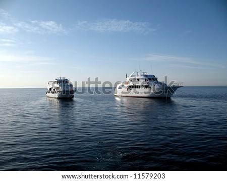 Safari boats on the stop. Red sea