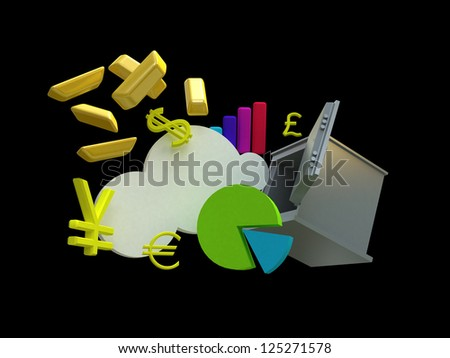 Safe and ingots. 3d rendering image with clipping path