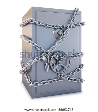 Safe clad in steel chain with a lock. isolated on white. with clipping path.