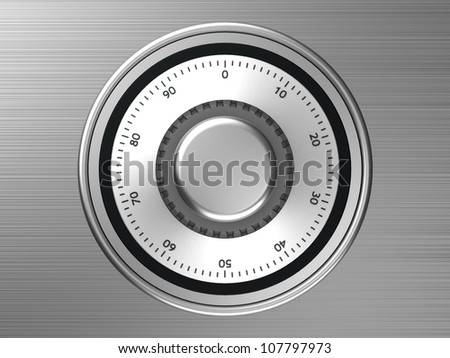 Safe dial with code isolated on a metallic background