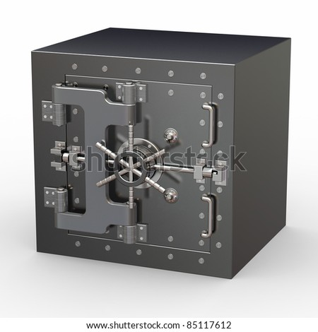 Safe in stainless steel. Bank Vault. 3d