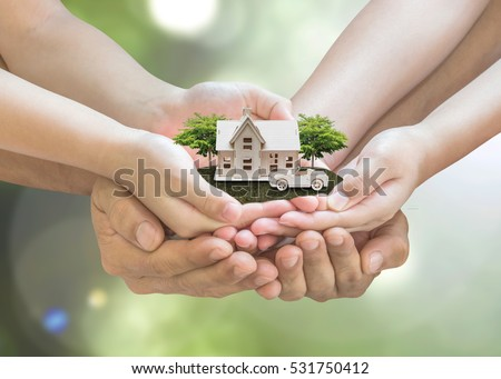 Safe lifestyle family house and garden on son daughter children kid, guardian mother father hands, on natural green tree planting environment for home loan property ownership assurance idea concept