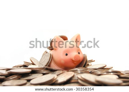 safe many money on white isolated  background