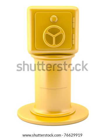 Safe on golden pedestal isolated on white background