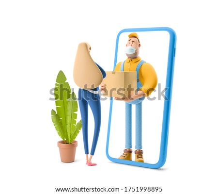 Safe online delivery Concept. Deliveryman in overalls standing inside the phone and  holds a box with a parcel. 3d illustration. Cartoon character.