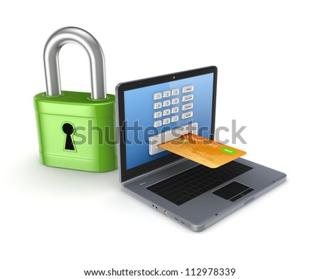 Safe payments concept.Isolated on white background.3d rendered.