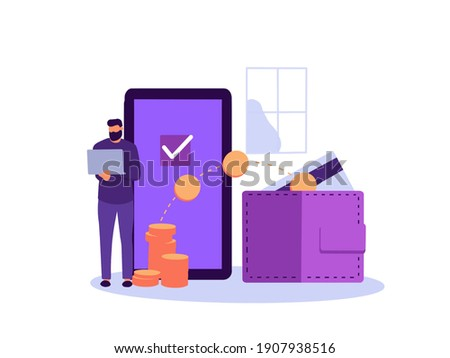 Safe payout concept. Payroll, annual bonus, income, payout with people character. Stock photo ©