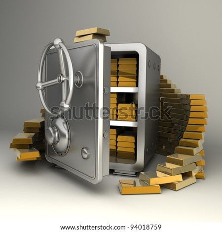 Safe with gold  High resolution 3D